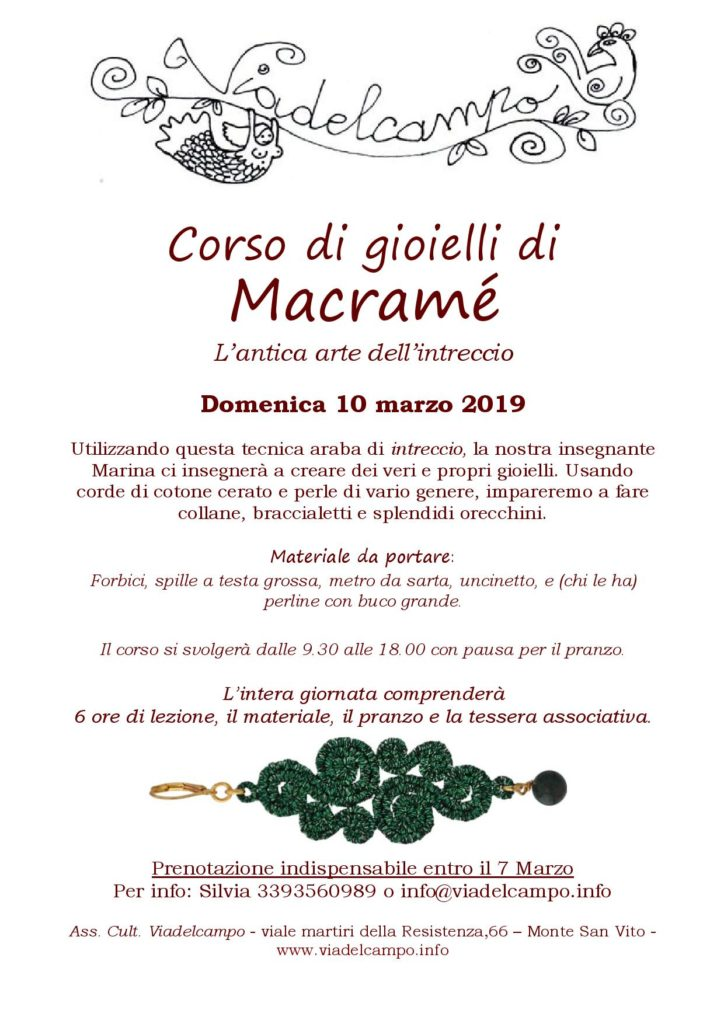 Corso di macramè 10 Marzo 2019 B&B Viadelcampo di Monte San Vito (AN)