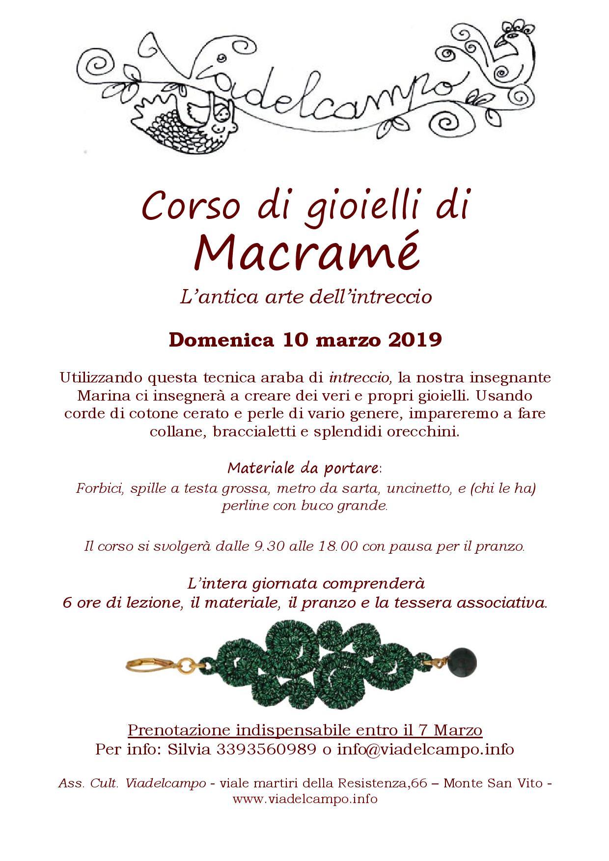 Corso di gioielli in Macramè